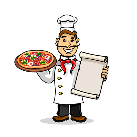 Pizzeria icon. Italian Chef in uniform and cooking cap holding menu card template and pizza. Vector emblem for restaurant signboard, menu, decoration Illustration