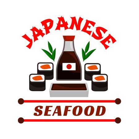 eatery: Japanese seafood restaurant emblem. Sushi rolls and sauce bottle icons. Oriental cuisine design for restaurant, eatery and menu. Advertising sticker for door signboard, poster, leaflet, flyer