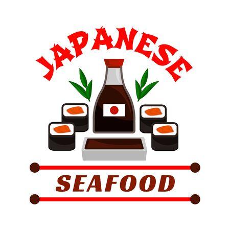 signboard design: Japanese seafood restaurant emblem. Sushi rolls and sauce bottle icons. Oriental cuisine design for restaurant, eatery and menu. Advertising sticker for door signboard, poster, leaflet, flyer