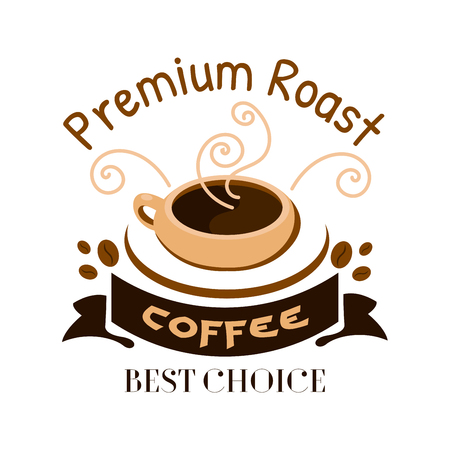signboard design: Cafe menu icon. Stylized hot coffee cup with steam and coffee beans. Label design for cafeteria door sticker, tag, signboard, coffee shop