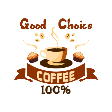 cafe shop: Cafe menu icon. Hot coffee cup with muffin and coffee beans. Label design for cafeteria door sticker, tag, signboard, coffee shop