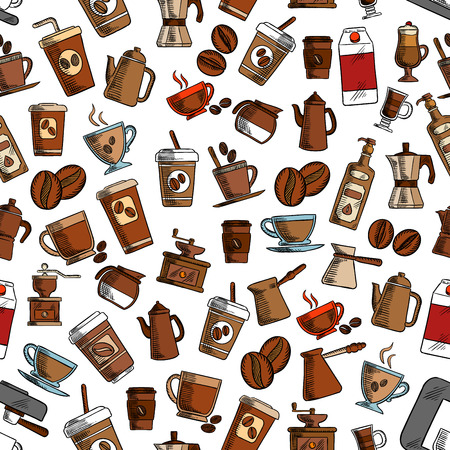 cezve: Coffee cups and coffee makers seamless background. Wallpaper with vector pattern icons of vintage coffee mill, turkish cezve, espresso machine, retro coffee grinder, moka pot, macchinetta, milk pack, coffee beans, nut syrup Illustration