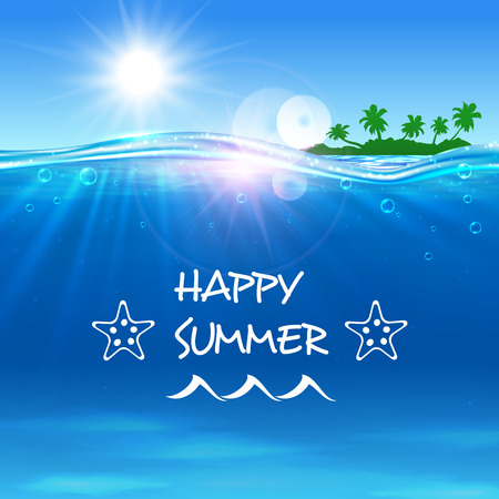 seaside: Happy Summer poster. Summer journey travel background with ocean water, shining sun, tropical palm island and waves. Template for banner, advertising, agency, flyer, greeting card
