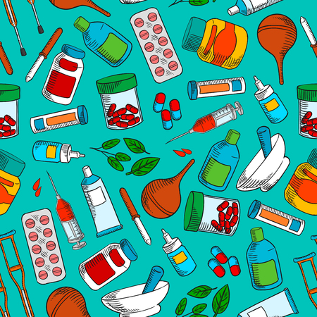 medical cure: Medical treatments and medication icons. Seamless wallpaper background with vector pattern of cure and medicine supplies ointment, pill, dropper, syringe, solution, tube, herbal syrup, mortar, crutch Illustration