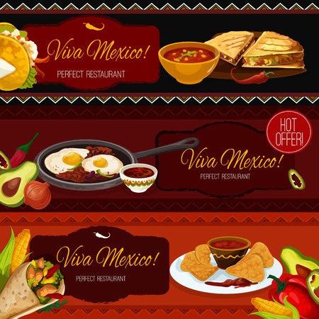 spice: Mexican cuisine restaurant and cafe banners with taco, nachos, burrito, beef tapas, tomato chilli sauce salsa, spicy eggs with beans and guacamole. Menu, promo poster or special offer design