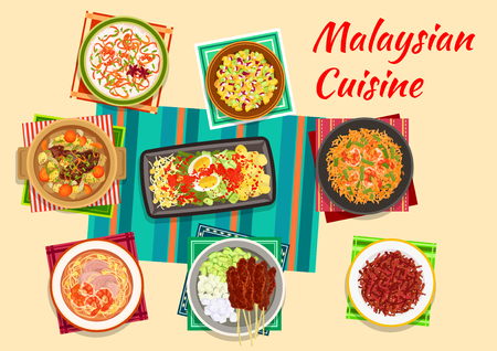 Malaysian cuisine icon with vegetable and egg salad, meat skewers satay with peanut sauce, pineapple and cucumber salad, beef ribs soup, fried rice with shrimps, crispy beef and rice porridge Illustration