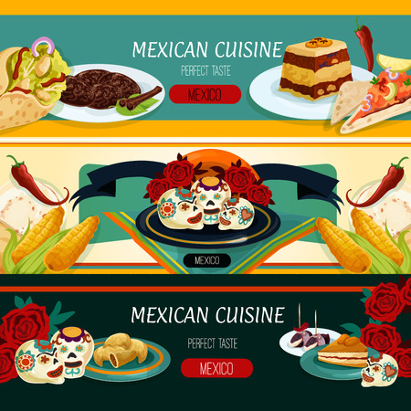 chocolate cookie: Mexican cuisine restaurant menu banners with nachos, burrito, corn tortilla, empanadas, bread pudding, apricot pie, fruit dessert and spicy chocolate cookie with roses, sugar skulls and ribbon banner