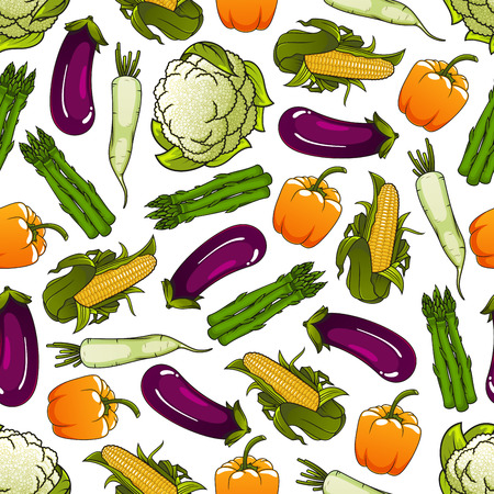 greengrocery: Fresh farm bell pepper, corn, asparagus, cauliflower and daikon vegetables seamless pattern on white background. Agriculture, farm market or food packaging design