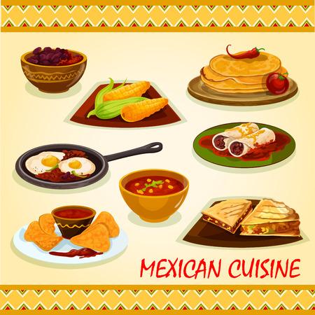 piatto: cucina messicana piatti speziati icona con tortillas, burrito, panini tortilla con carne e verdure, nacho con salsa di pomodoro salsa, grano bollito, stufato di fagioli, uova piccanti rancheros, zuppa peperoncino Vettoriali