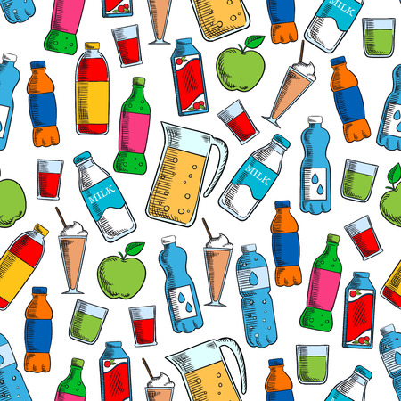 fresh milk: Fruit drinks and dairy beverages seamless background with pattern of juice pack, bottles of water, soft beverages and milk, milkshake in cocktail glass and pitcher of fresh lemonade Illustration
