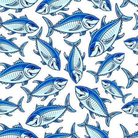 seawater: Swimming blue fishes seamless pattern with flock of cartoon atlantic tuna fishes over white background. Seafood and fishing sport themes design Illustration