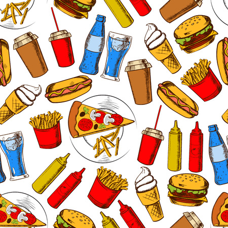 sauces: Fast food dinner with drinks and dessert seamless background with pattern of pizza, cheeseburger, hot dog, french fries and soda drinks, takeaway coffee cup, ice cream and sauces Illustration