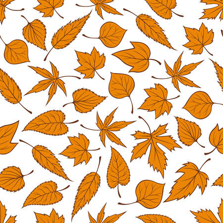 orange trees: Autumn leaves background with seamless pattern of orange fallen leaves of autumnal trees and plants. Floral decoration and autumn nature themes design