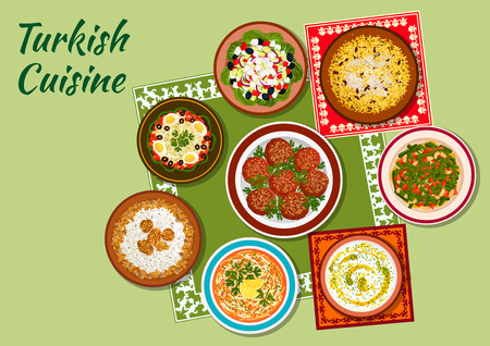 beans and rice: Turkish cuisine icon with chicken pilaf, rice soup with mint, meatballs kofte, white bean salad, chicken vermicelli soup, shepherd vegetable salad, circassian chicken with walnuts, green bean salad