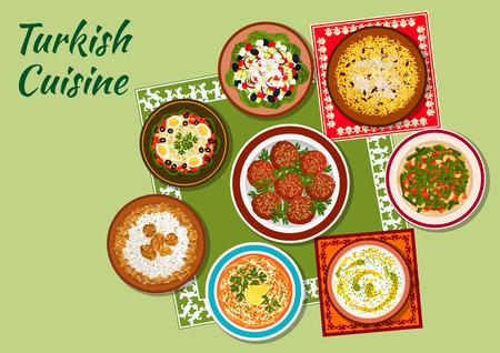 turkish dessert: Turkish cuisine icon with chicken pilaf, rice soup with mint, meatballs kofte, white bean salad, chicken vermicelli soup, shepherd vegetable salad, circassian chicken with walnuts, green bean salad