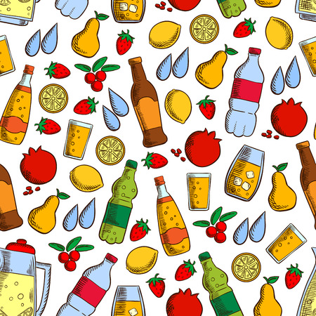 cranberry illustration: Pattern of fruits and cold drinks with seamless background of soft beverages, juice and water bottles, lemonade jar, fresh strawberry, lemon, pear, pomegranate and cranberry fruits Illustration