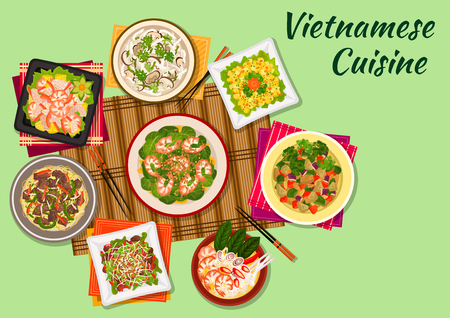 Vietnamese cuisine seafood salad and soup icon served with crispy lamb, chicken soup with shiitake mushrooms, beef noodles, mango salad, spinach salad with shrimps, eggplant stew Illustration