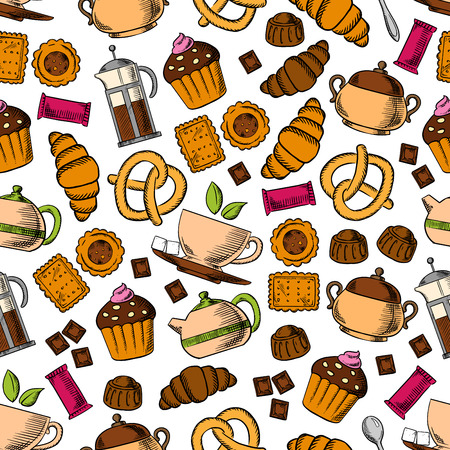 sugar cookie: Pastries and sweets with tea drinks seamless background with pattern of tea cup, cupcake, croissant, chocolate, cookie, candy, pretzel, tea pot and sugar bowl