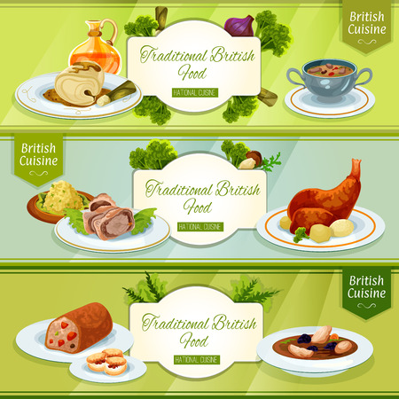 British cuisine national dishes banner with scottish chicken soup, smoked trout pate, rabbit with potato, beef wellington in pastry coat, cod in mustard sauce, kidney soup, fruit cake, scones