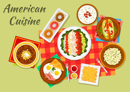 french cuisine: American cuisine typical dinner sign with hot dog, french fries, eggs with bacon and toast, vegetable cobb salad, glazed donut, bacon chowder soup, cucumber salad and baked beans with bacon Illustration