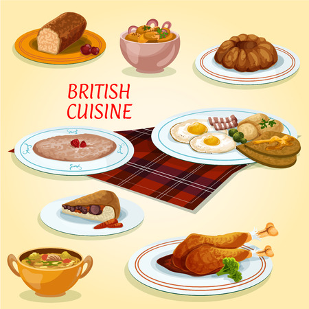 potato salad: British cuisine icon with fried eggs and bacon, steak and kidney pie, turkey with cranberry sauce, pudding, oatmeal porridge, gingerbread cake, scottish lamb soup, potato and anchovy salad