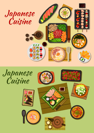 grilled vegetables: Japanese cuisine icon of sushi, sashimi, grilled beef with vegetables, seafood skewers, fried shrimps and chicken liver, chicken and prawn cream soups, beef noodles, seafood and tofu soups, tea