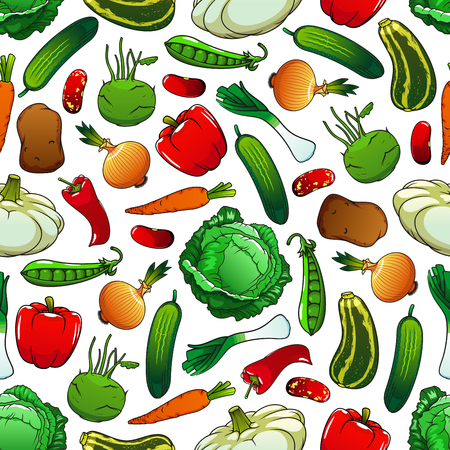 Pattern of fresh vegetables on white background with seamless pepper, onion, cabbage, carrot, bean, potato, cucumber, green pea, zucchini, leek, kohlrabi and pattypan squash vegetables Illustration