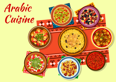 chicken rice: Arabic cuisine authentic dishes icon with chicken rice, beef pea soup, tomato bean stew, vegetable salad, lamb tagine with dried fruits, veal vegetable stew and baked zucchini salad Illustration