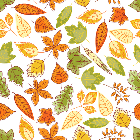 oak trees: Autumn leaves background with sketchy seamless pattern of orange, yellow and green foliage of maple, oak, chestnut, birch and elm trees, bushes and herbs. Autumnal nature theme design Illustration