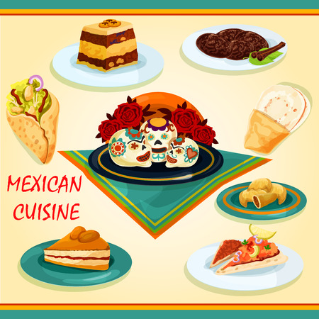 tomato sauce: Mexican cuisine sandwiches and desserts icon with nachos and tomato sauce salsa, burrito, empanadas, bread pudding, apricot pie, spicy chocolate cookie and tray with sugar sculls Illustration