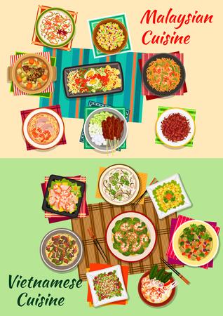 Vietnamien et malaysian cuisine icône avec fruits de mer et salades de légumes, riz frit aux crevettes, nouilles de boeuf, brochettes de viande grillée, des collations à base de viande de b?uf, croustillant aux champignons et les soupes de fruits de mer, les aubergines stew Banque d'images - 62641270