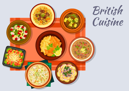 cherry tomato: British cuisine sign with fish and fries, bacon, lettuce and tomato salad, irish vegetable stew, lamb with bread sauce, chicken cherry salad, irish fish soup, potato anchovy salad, kidney soup