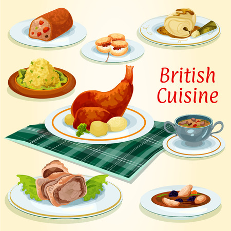 British cuisine popular dishes icon with beef wellington in pastry wrap, scottish chicken soup with prunes, rabbit with potato, fruit cake, kidney soup, scones, cod in mustard sauce and fish pate Çizim