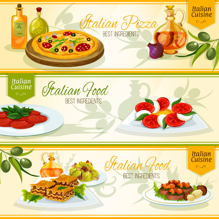 pasta salad: Italian cuisine pizza, lasagna, carpaccio dishes menu banners with tomato and mozarella salad caprese, beef with porcini mushrooms and caesar salad, adorned by olive branches and bottles of olive oil Illustration