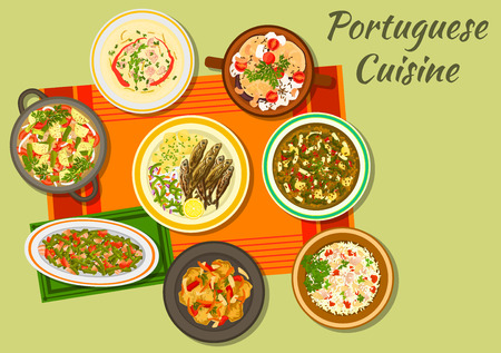 Portuguese cuisine cabbage and sausage soup caldo verde icon with fried sardine, bean stew, fish paella, baked eggplant with mushrooms, fish stew, pork with vegetables, cabbage soup with chorizzo Ilustração
