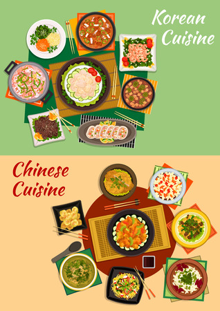 prawns: Chinese and korean cuisine icon with seafood and spicy vegetable salads, grilled beef, shrimp noodles, vegetable, seafood and tofu soups, fried pork and prawns, stuffed squid, cinnamon dumplings