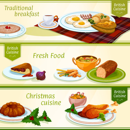 gingerbread cake: British cuisine breakfast and Christmas dinner menu banners with eggs, bacon, tea and porridge, festive pudding and turkey, fish and chips, gingerbread cake, anchovy salad, scottish soup and meat pie