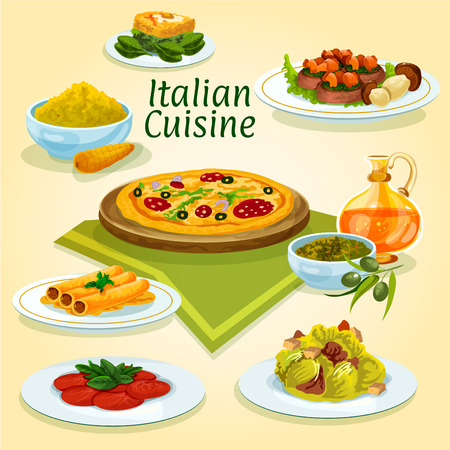 spinach: Italian cuisine pizza carbonara icon with caesar salad, beef carpaccio, fish stuffed cannelloni pasta, spinach omelette, polenta with parmesan, basil pesto sauce with olive oil, beef with boletus Illustration