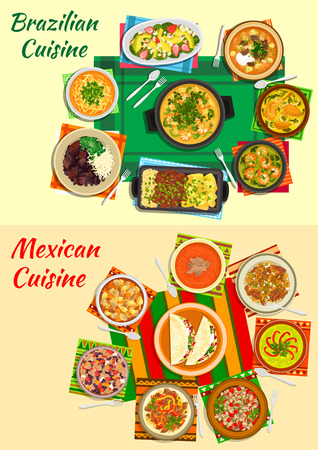 beans and rice: Mexican and brazilian cuisine icon with bean and seafood stews, grilled meat, taco and meat salads, beef fajitas, tomato and lentil, shrimp, duck and avocado soups, beef tongue, fruit salad with nut