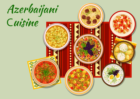 dumpling: Azerbaijani cuisine icon with grilled vegetables salad, dumpling soup, fish ball kofta, lamb vegetable stew, meatball bean soup, chicken cornel stew, lamb with pomegranate sauce, cold yogurt soup