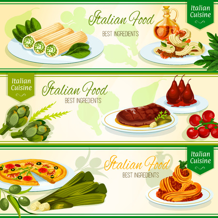 meat steak: Italian cuisine restaurant banners with seafood pizza, florentine steak, cannelloni pasta stuffed with chicken, seafood and meat spaghetti with sauce, pear fruits poached in red wine. Menu design