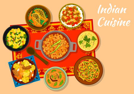 india food: Indian cuisine chickpea curry sign with warm cabbage salad, chicken with vegetables, spinach potato, eggplant stew with rice, corn soup with lentil, snack pie khaman, curry chicken with carrot