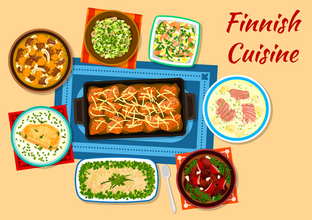 meat soup: Finnish cuisine fish and meat dishes icon with fried salmon, herring and potato forshmak, creamy salmon soup, karelian meat stew, cured reindeer meat, fish rice soup, salmon salad, mackerel fricassee