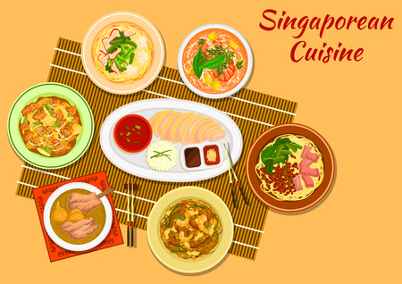noodle soup: Singaporean cuisine chicken rice icon with seafood noodle soup laksa, minced pork noodles, pork rib soup, pork noodles with wonton dumplings, rice noodles rojak, pineapple with fritters and nuts