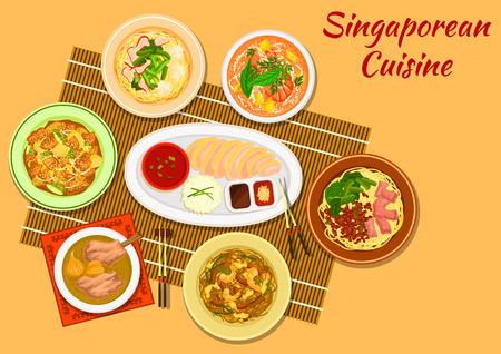 Singaporean cuisine chicken rice icon with seafood noodle soup laksa, minced pork noodles, pork rib soup, pork noodles with wonton dumplings, rice noodles rojak, pineapple with fritters and nuts Vektoros illusztráció