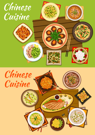 meat soup: Chinese cuisine icon with peking duck, noodles with beef and mango salad, sour pork, beef steak, seafood stew, chicken corn, rice and anise soups, meat with peanuts, hot and sour soup, rice balls Illustration
