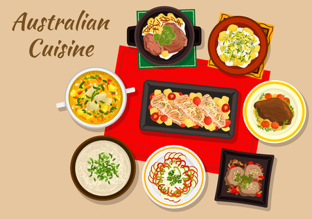 broth: Australian cuisine dinner icon with baked salmon, beef steak, chicken cream soup with almond, beef rolls with nuts, potato salad, fruit and vegetable salad, boiled beef, chicken broth with ginger