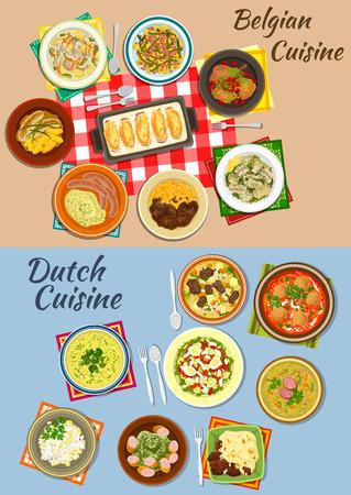 Nederlandse en Belgische keuken icoon van de aardappel met worst en rundvlees, erwten en tomatensoep, andijvie broodjes, zalm en aardappel salades, romige kip stoofpot, konijn met kersen, bitterballen en bonen soepen