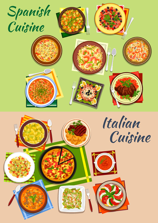 potato salad: Italian and spanish cuisine pizza and paella icon with pasta, bean and sausage soups, tomato and mozarella salad, seafood noodles, beef steaks, caesar and pasta salads, potato dumplings, tuna salad