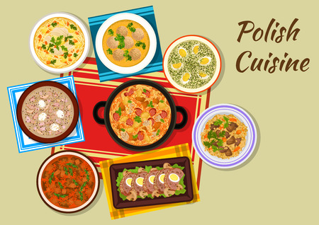 Polish cuisine iconic dishes sign with cabbage and meat stew bigos, chicken vermicelli soup, dumplings, beef goulash, sorrel soup, beef, bean and barley stew, meat roll and sour rye soup with sausages Illustration